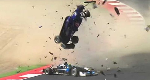 Formula 3 Car Gets Big Air in Huge Crash